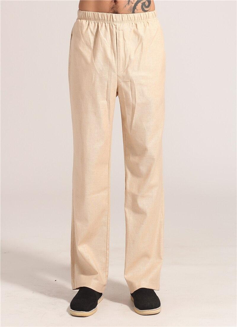 Spring Autumn Beige Chinese Men Kung Fu Tai Chi Pant Cotton Linen Trousers Clothing Size S M L XL XXL XXXL MNP06