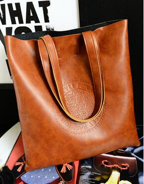 Oil Quality PU Leather Women Bag Retro British European And American Fashion Handbags Embossed Shoulder Bag Large Capacity Lady