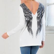 White Novelty Long Women's T Shirt Punk O-NECK Back Angel Wings Printed T-Shirt Women Tops Casual New Hot Tshirt