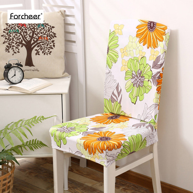 Floral Print SunFlower Pattern Elastic Multifunctional Spandex Dining Room Chair Cover For Modern Kitchen Table