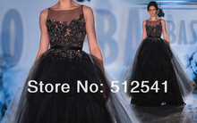 Chest Sheer Black Long Prom Dresses A Line Sccop Ruffle Applique Beads Organza 2014 New Arrive yk8R006