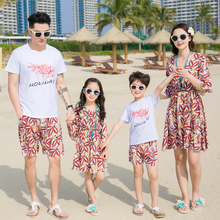 цена на Family Matching Outfits Mother Daughter Dresses Mommy and Me Clothes Father Son Clothing Set Family Look Beachwear Dress Clothes
