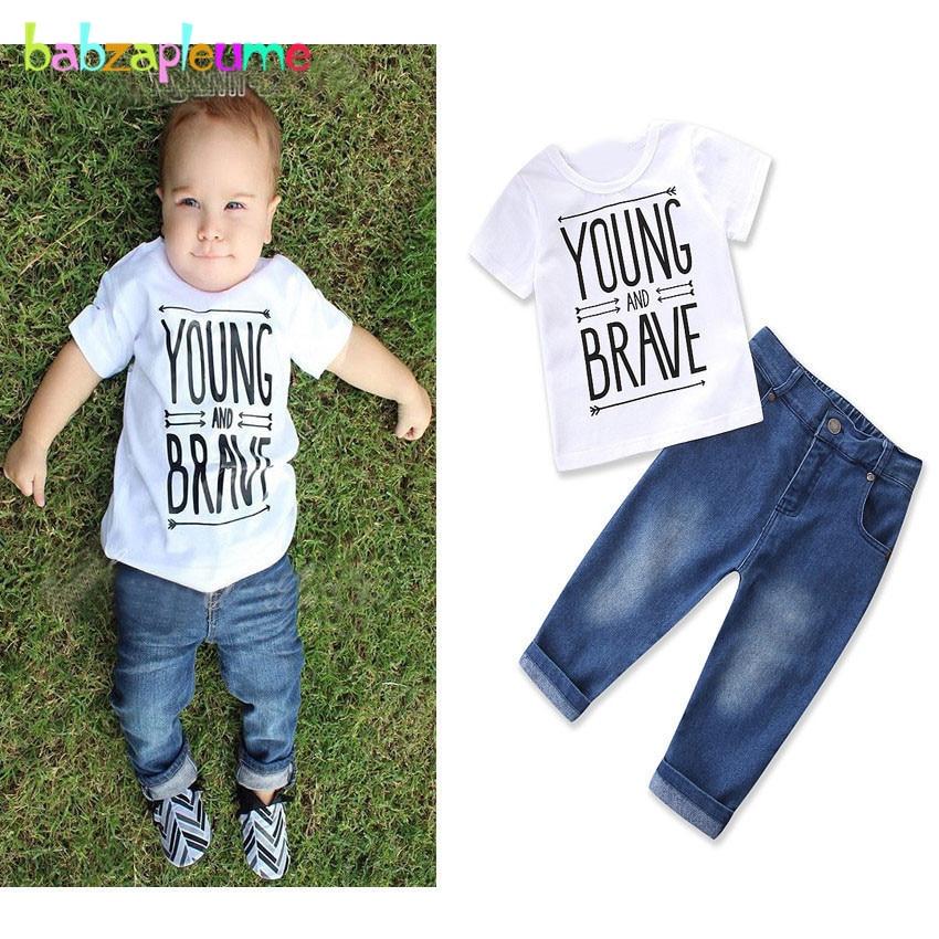 2 шт/1-6years/сезон: весна–лето одежда для маленьких мальчиков белый короткий рукав детская футболка + Джинсы для женщин детей Костюмы комплект ...