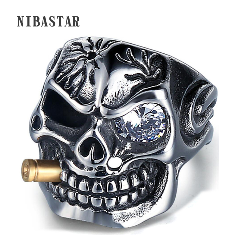 Mens Skull Biker Pirate Skeleton Rings Punk Stainless Steel With Crystal Male Retro Jewelry Decorations Accessor