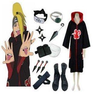 Anime Naruto Cosplay - Ruházat Naruto Akatsuki Deidara Cosplay jelmez szett minden tartozékkal Férfi Női Halloween Ruházat