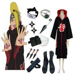 Anime Naruto Cosplay - Apparel Naruto Akatsuki Deidara Cosplay Costume Set With All accessories Men Women Halloween Clothing