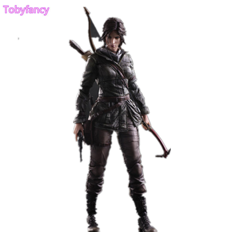 The Tomb Raider Lara Croft Play Arts Kai Action Figure Toys PVC 260mm Anime Toy Rise of The Tomb Raider Playarts Lara game 26 cm rise of the tomb raider lara croft variant painted figure variant lara croft pvc action figure collectible model toy