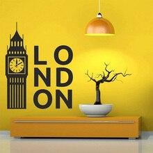 United Kingdom London Clock Decal Bedroom Decoration Art Poster Big Ben Vinyl Wall Sticker Home Decor Living Room AY1912