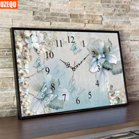 Wall Clock 3D DIY Diamond Painting Cross Stitch Butterfly Full Diamond Embroidery Clock And Watch Diamond