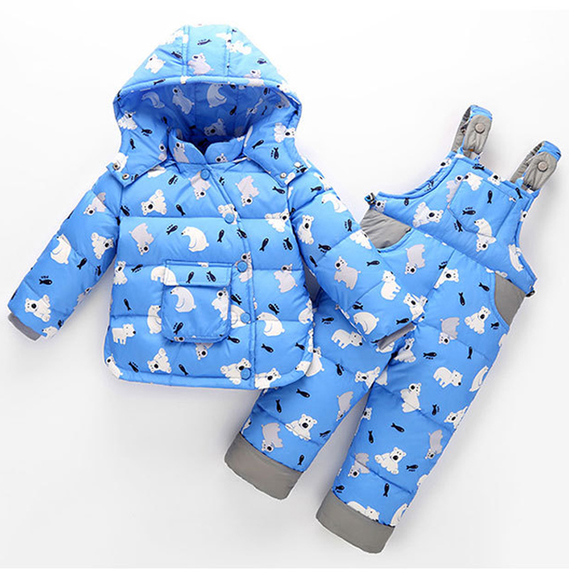 2 PCS Children Set Baby Boys Girls Clothing Sets Winter Hooded Down Jackets+Trousers Waterproof Thick Warm Kids Outerwear XL242 2015 new autumn winter warm boys girls suit children s sets baby boys hooded clothing set girl kids sets sweatshirts and pant