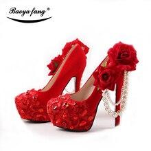 Neue Ankunft Rot farbe Flock Frauen hochzeit schuhe Braut 8cm/11cm/14cm high heels plattform schuhe Braut Große Blume schuh Rote sohle