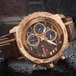 Mężczyzna zegarka data tydzień sportowe męskie zegarki Top marka luksusowe wojskowe armii biznes prawdziwej skóry zegarek kwarcowy mężczyzna zegar NAVIFORCE 9110 w Zegarki kwarcowe od Zegarki na