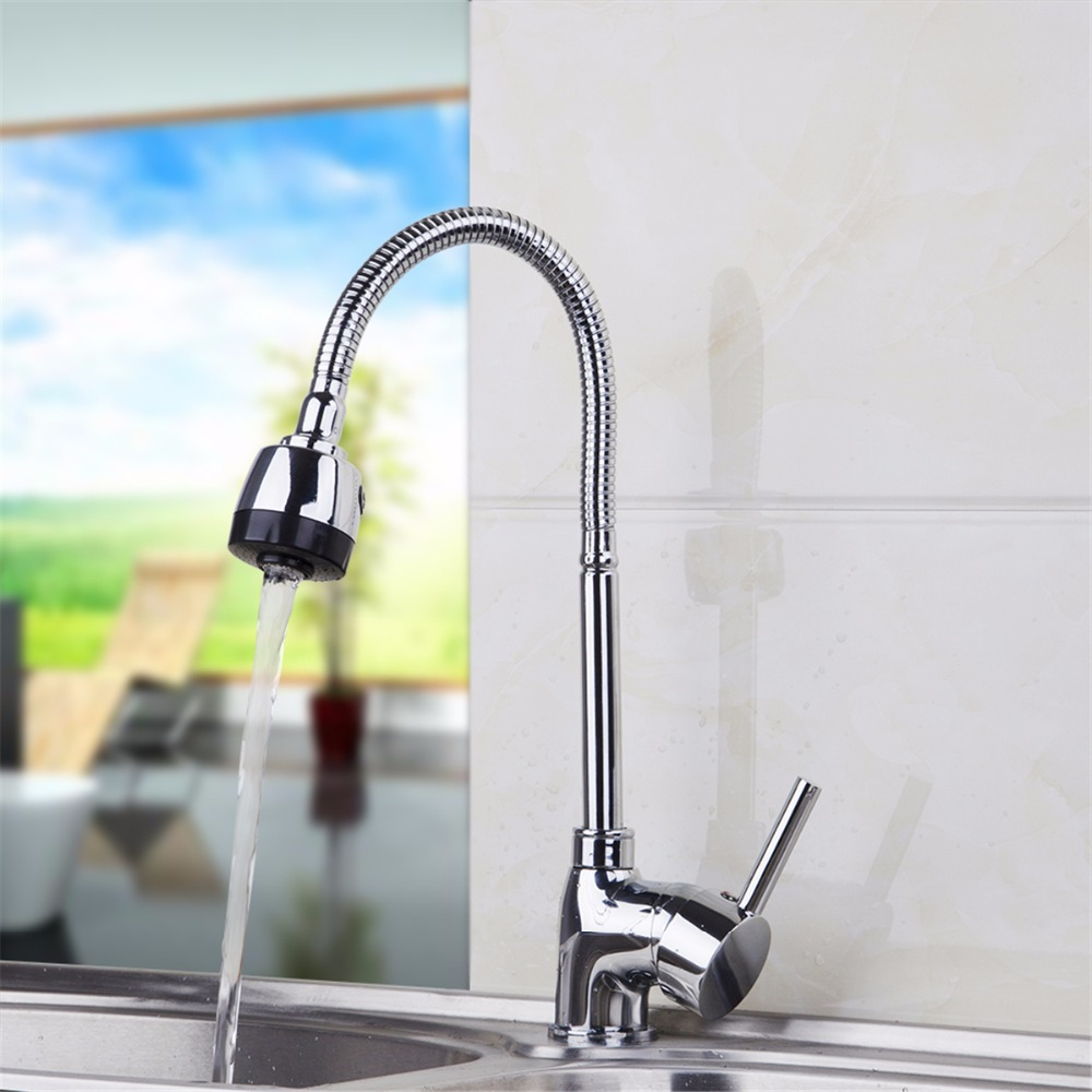 Hot and Cold Water Pull Out Kitchen Faucet Polished Chrome Finish Spray Kitchen Mixer Water Taps