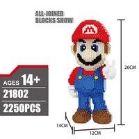 Classic Cartoon Game Figures Nanoblock Super Mario Bros Nintendoes Image Micro Diamond Building Block Assemable Bricks Model Toy