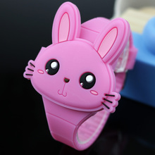 Lovely Rabbit Cartoon Children Watches Flip Cover Rubber Electronic Ki