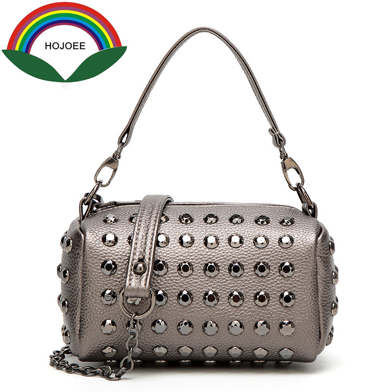 Hojoee fashion ladies handbags rivet chains Pillow pu leather totes crossbody bags clutch bag for girl luxury 2017 designer