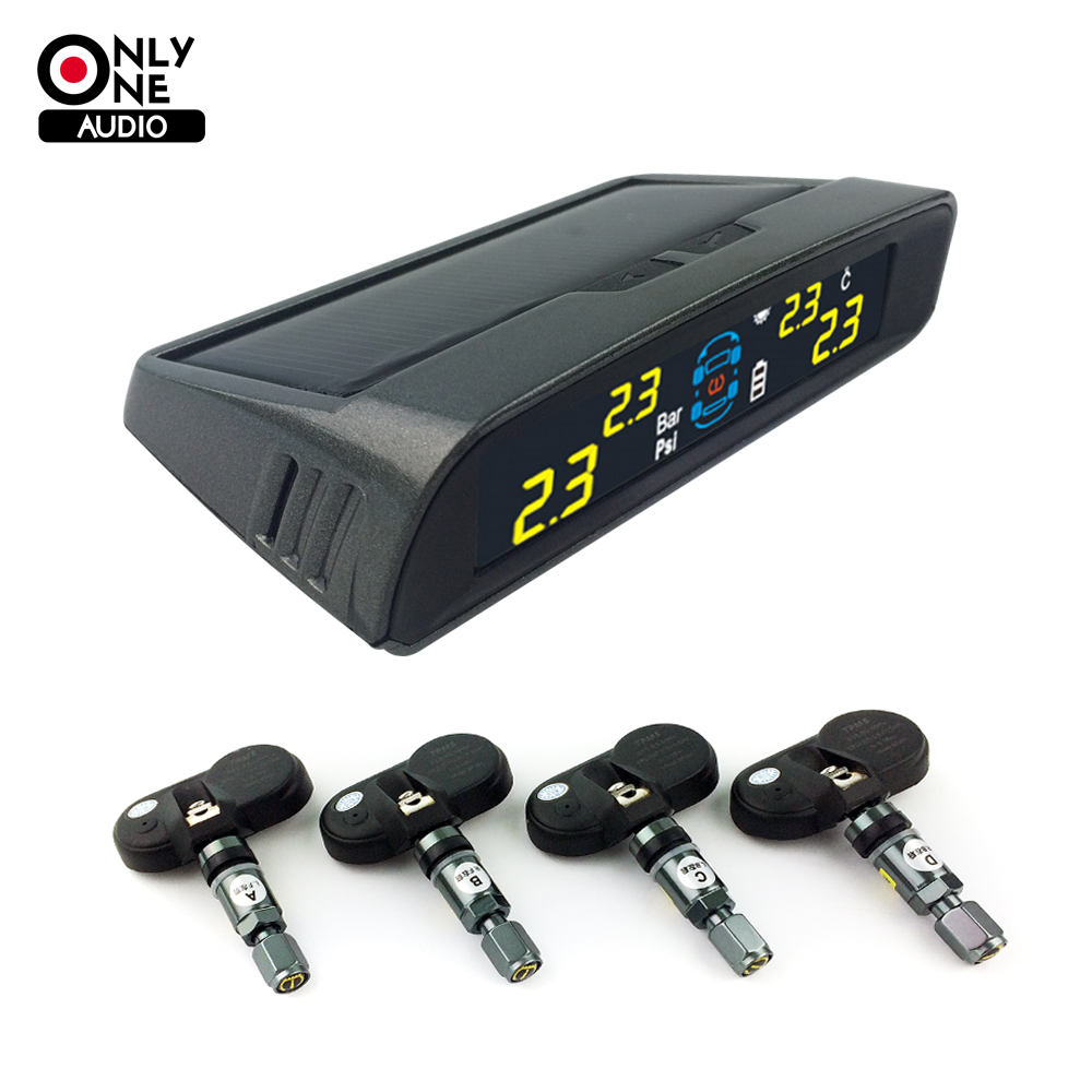 ONLY ONE AUDIO auto car wireless TPMS tire pressure alarm system solar energy tpms with 4 internal Sensors Car diagnostic tool universal hotaudio dasaita built in tpms car tire pressure monitoring system car tire diagnostic tool with mini inner sensor