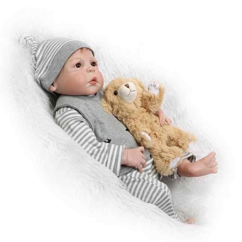 NPKCOLLECTION Levensechte 23 Inch Reborn Baby Poppen Vol Siliconen Vinyl Lichaam Baby Pop Waterdichte Meisje Speelgoed Geschenken Bebes Reborn