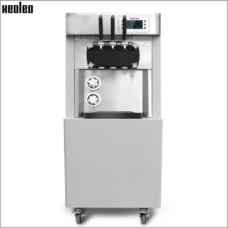 Xeoleo Commercial 3 Heads Soft Ice Cream Maker 2400W/220V Ice Cream Machine 28L/H with Double Cone Dispenser 9 Magic Heads commercial soft ice cream machine sweet cone ice cream machine 18 h ice cream maker 1600w 110 220v 1pc