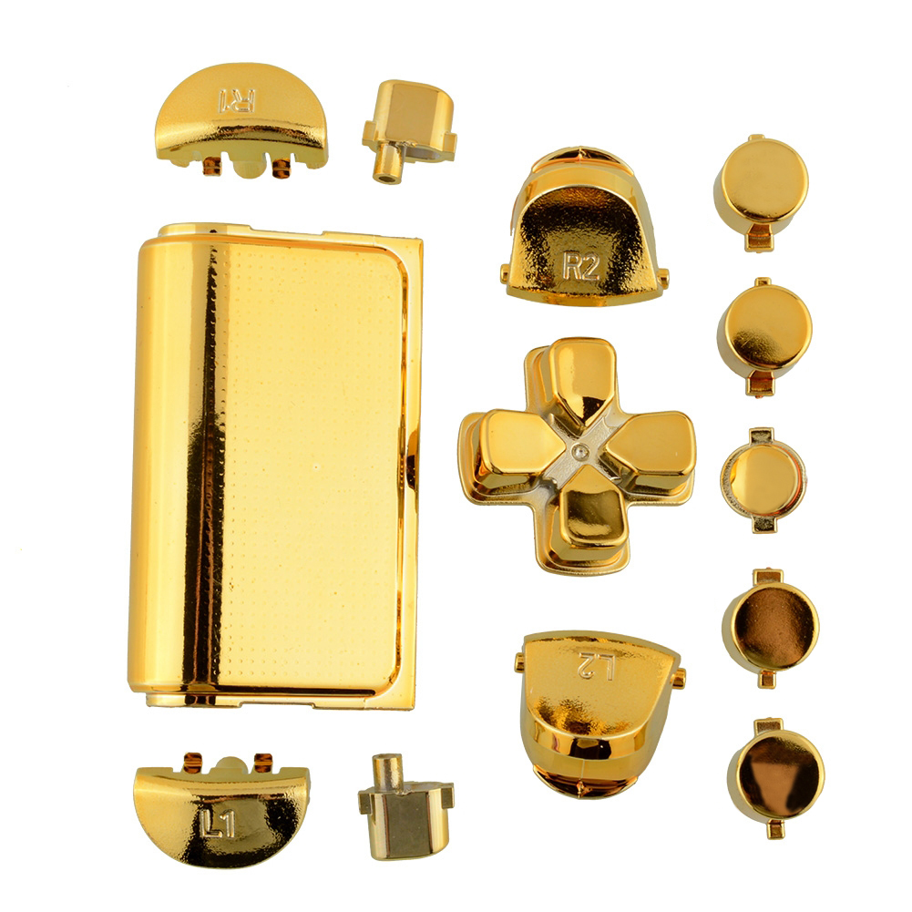 Fashion Full Buttons Mod Kits Set Chrome Gold For Playstation 4 for PS4 Controller Joystick Video Game Accessories