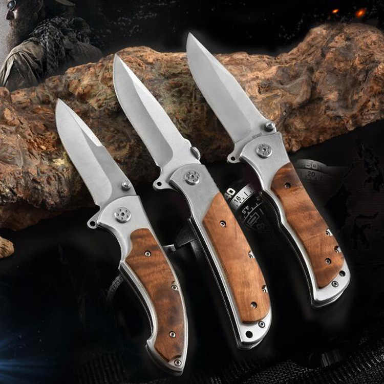 Hunting Folding Knife Camping Survival EDC Handmade Pocket Knives Tactical Combat Tool 7CR18MOV Damascus Wood Handle