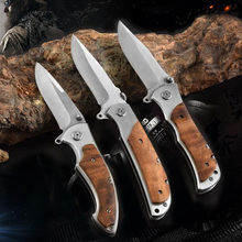 цены Hunting Folding Knife Camping Survival EDC Handmade Pocket Knives Tactical Combat Tool 7CR18MOV Damascus Wood Handle