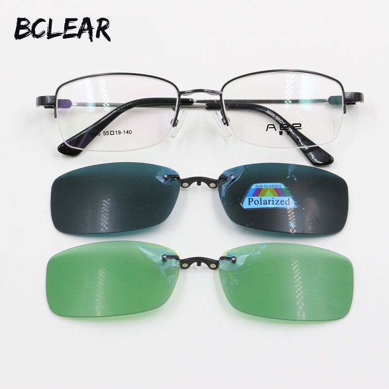 BCLEAR High quality Popular Polarized Unisex Clip On Sunglasses Night Vision with memory temple optical frame for men and women