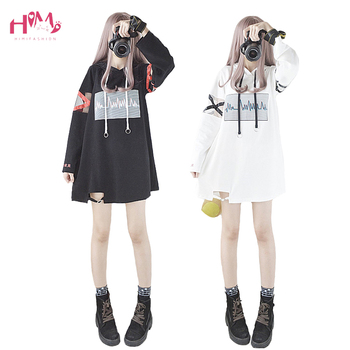 2019 Korea Women Lolita Long Hoodies Japanese Harajuku Fashion ECG Graphic Female White Sweatshirt With Heart Kawaii Gothic Tops 1