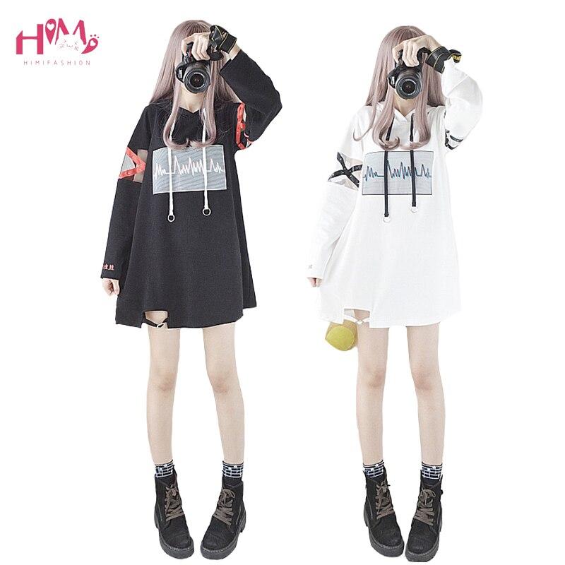 2018 Korea Women Lolita Long Hoodies Japanese Harajuku Fashion ECG Graphic Female White Sweatshirt With Heart Gothic Tops