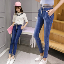 Весной 2016 новый Корейский мода дамы тонкий тонкий талией джинсы брюки упругие талии брюки