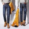 Толстые Теплые Бархатные джинсы Мужчины Большой Размер Прямые Руно Супертяжелом Джинсовые Брюки Мужчины зима от холода Джинсы