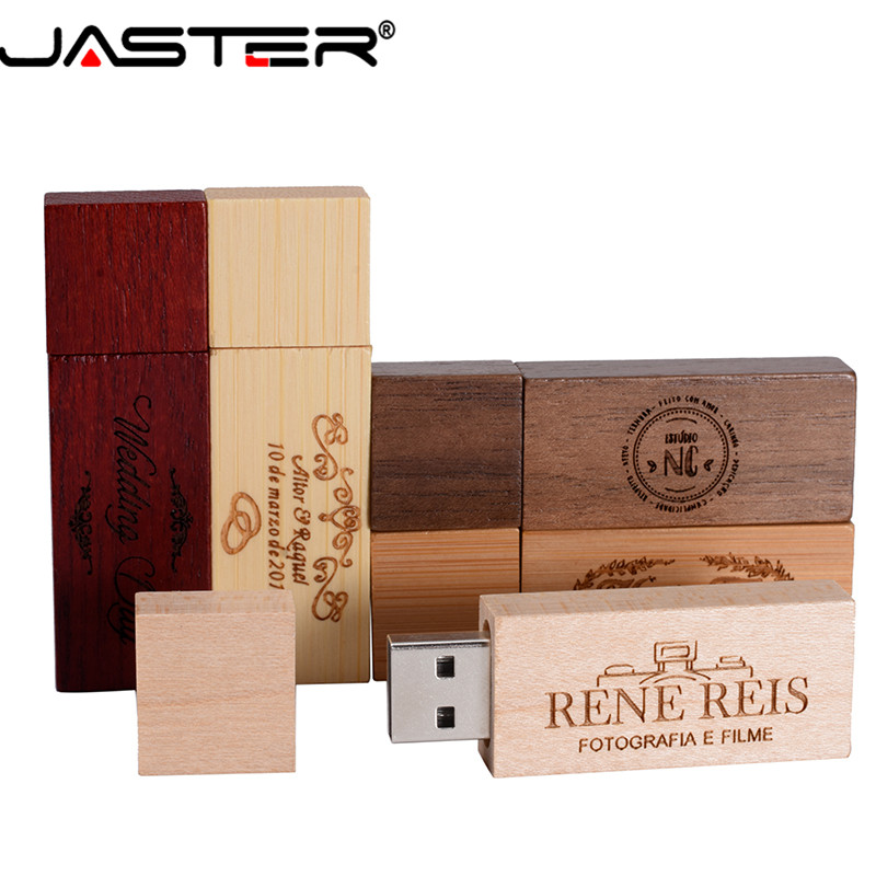 JASTER  Wooden Usb 2.0 Flash Drive Customer LOGO Pen Drive 4GB 8GB 16GB 32GB 64GB U Disk Memory Stick PHOTOGRAPHY Wedding Gifts