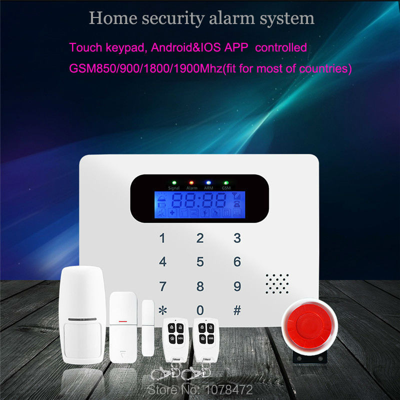 Good quality SMS GSM security alarm with voice in 7 languages,Touch keypad APP controlled burglar alarm system with new sensor diy touch keypad wireless gsm sms autodial smart home security burglar alarm system smoke sensor voice pir emergency