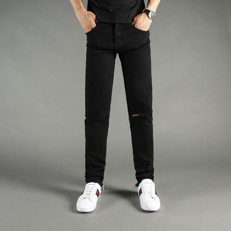 Black Color Fashion Mens Jeans High Street Punk Pants Ankle Zipper Skinny Fit Elastic Hip Hop Jeans DSEL Brand Ripped Jeans Men