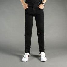 f8f06ea7b2 Color Negro Pantalones vaqueros de los hombres de moda de alta calle Punk  pantalones tobillo cremallera flaco Fit elástico Hip H..