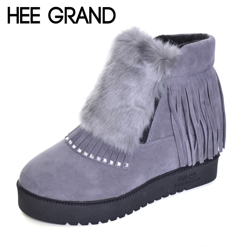 HEE GRAND Inner Increased Winter Ankle Boots Warm Fringe Fashion Platform Women Snow Boots Shoes Woman creepers 3 Colors XWX6180 patti traveller 46