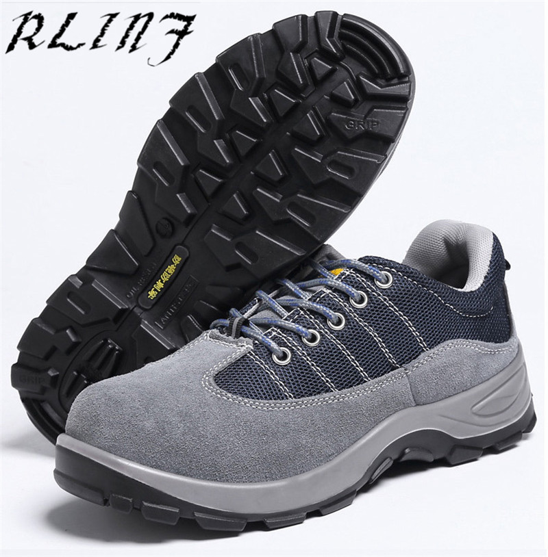 3b89f450 US $45.88 |RLINF Men Steel Toe Cap Work Safety Shoe Genuine Leather Casual  Anti kick Footwear Outdoor Puncture Proof Sneaker-in Work & Safety Boots ...