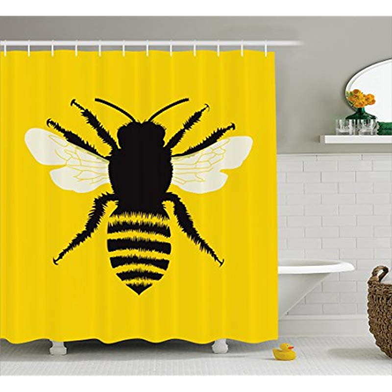 Vixm Queen Bee Shower Curtain Silhouette Of Honeybee With Stripped Design And Detailed Wings Abstract Cloth Fabric Bath Curtains