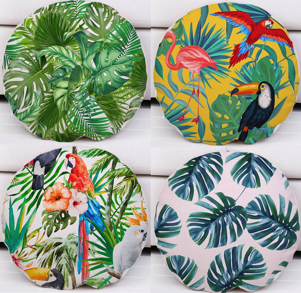 Tropical Plants Hibiscus Flower Cushion Covers Monstera Green Leaves  Cushion Cover Decorative Linen Cotton Round Pillow
