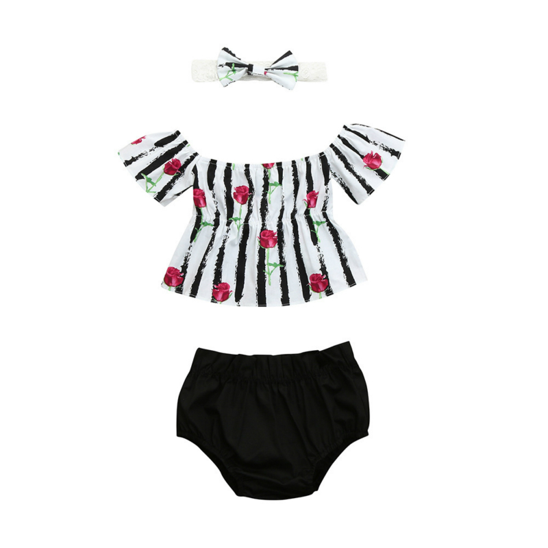3pcs Girls Bodysuit Stripe Floral Print Ruffles Bow Short Sleeve Top Hairband Solid Color Shorts Set Body For Newborn Babys