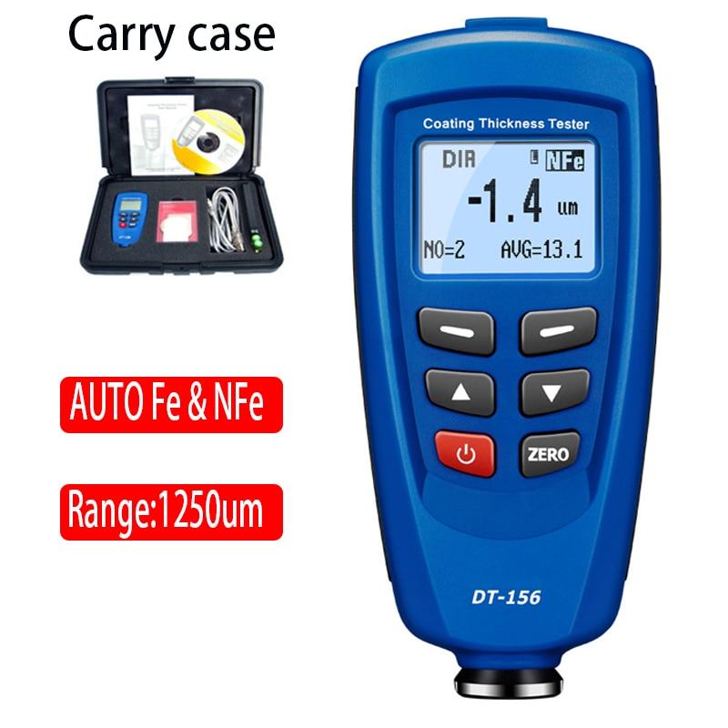 Tester digitale DT-156 per misuratore di spessore del rivestimento di vernice 0 ~ 1250um con sonda F & NF automatica incorporata + cavo USB + software CD