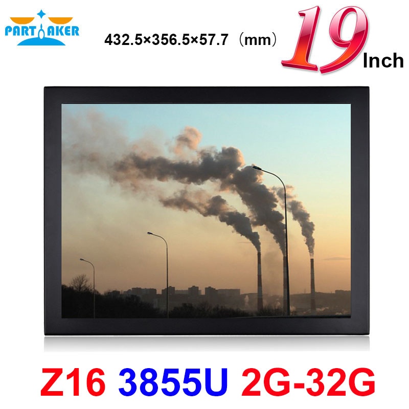 19 Inch LED Industrial Panel PC Intel Celeron 3855U with 5 Wire Resistive Touch Screen 1VGA/3USB2.0/1USB3.0/1LAN/3COM/FAN