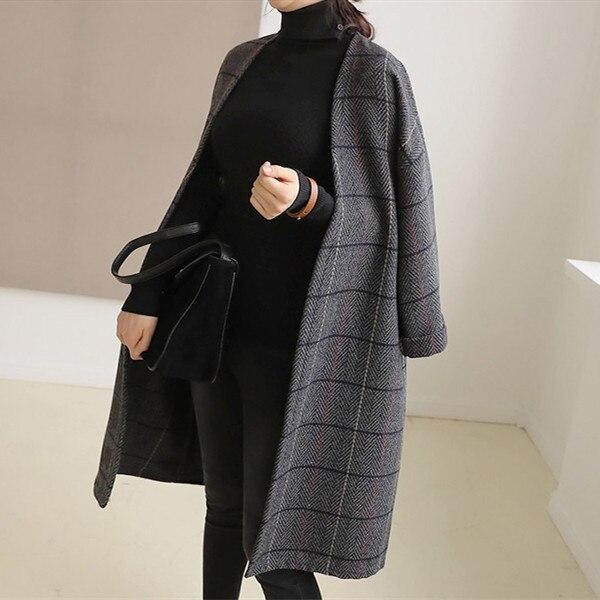 UK Women Woolen Coat Autumn Winter Cassic Simple Long Plaid Cardigan Coat Trenchcoat Wool Coat All Match Vintage Plus Size
