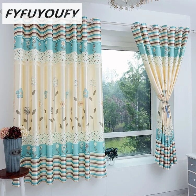 FYFUYOUFY Stripe Printed Curtains For Living Room Bedroom Silk Curtains In  Kitchen Windows Blackout Curtains The