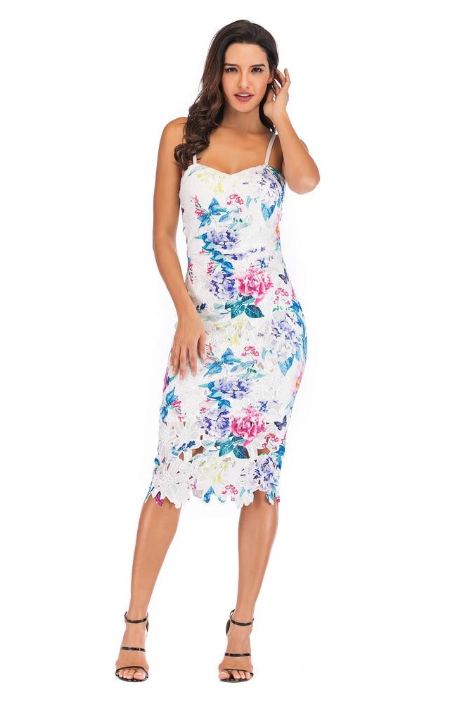 OKAYOASIS Free Shipping Sexy Women Spaghetti Strap Floral Print Bodycon Party Dress Elegant Summer Casual Dress Vestidos