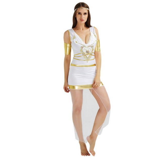 2018 Adults Ancient Egypt Costume Women Lady White Queen Princess