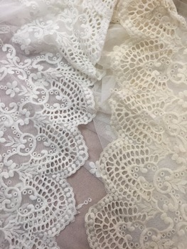 Evintage Veils Cream Cotton Embroidered Mesh Lace Fabric,Chevron Bridal lace Fabric Cream OR Off White for Veil Mantilla 5 Yards