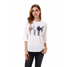 Summer T Shirt Women Casual Tops Tee Female Horse Print Half Sleeve Oversized Loose T-Shirt BF Style White