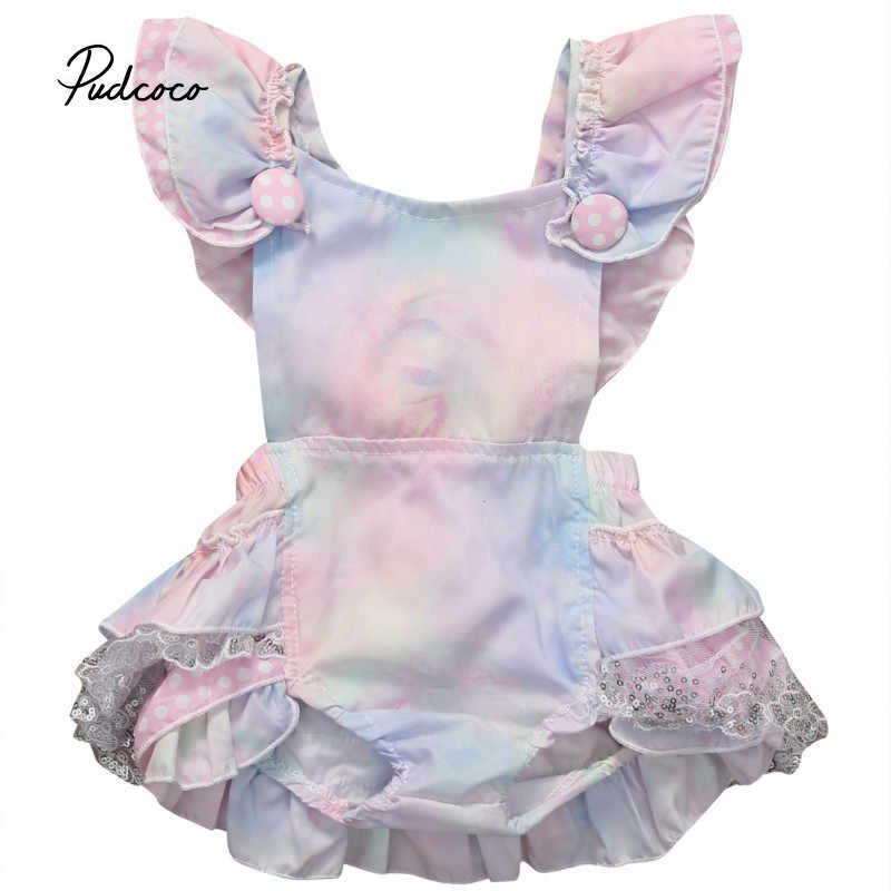 Pudcoco Baby Girls Fashion Clothes 1 piece Floral Lace Cotton Blend Pink Baby Girls Sleeveless Square Collar Bodysuit