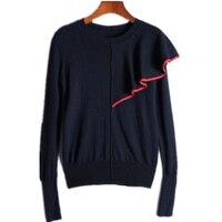 Runway Design Christmas Sweater 2018 Winter Jumpers Long Sleeve Single Shoulder Ruffles Novelty Knitted Pullover Sweater Women
